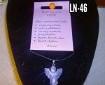 Rose Quartz Angel  gemstone & Leather  Pendant ..  LN-48